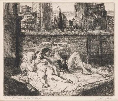 John Sloan, 'SUNBATHERS ON THE ROOF (M. 307)', 1941
