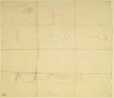 Stanley Spencer, 'Figure study and other sketches on tracing paper'