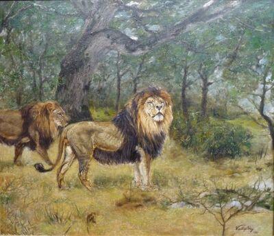 Géza Vastagh, 'Löwen in Waldlandschaft (Lions in the Forest)', 1912