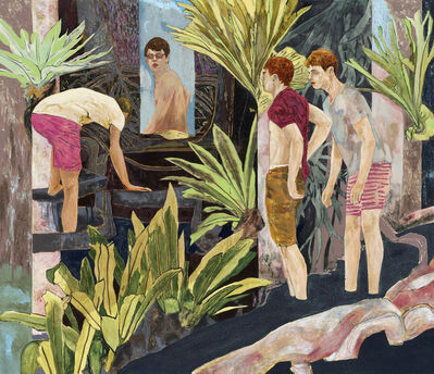 Hernan Bas, 'four bathers by a river', 2017
