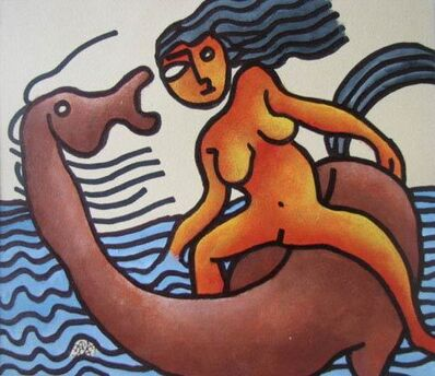 Prokash Karmakar, 'Nude women riding on horse, Mixed Media in red, blue & brown by Master Artist Prakash Karmakar', 2004