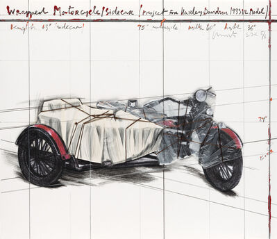 Christo, 'Wrapped Motorcycle/Sidecar (Project for Harley-Davidson 1933 VL Model) AP', 1997