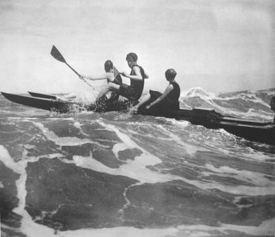 Jacques Henri Lartigue, 'Rico Broadwater, Gugy Kahn and Lisbeth Thomas, Deauville', 1917