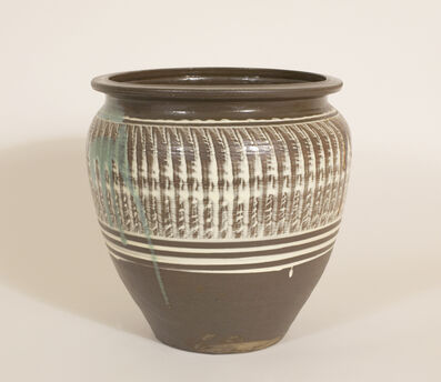 Onda Yaki, 'Wide-Mouthed Jar with Hakeme (Brushed Slip) and Yubigaki (Finger Drawn) Design', n/a