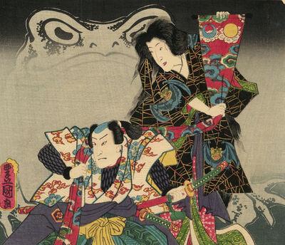 Utagawa Toyokuni III (Utagawa Kunisada), 'Frog Magic: Ma for Masakado', 1856