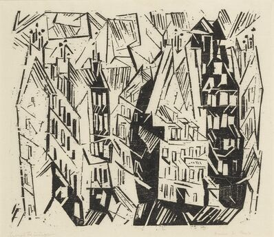 Lyonel Feininger, 'Pariser Häuser (Houses in Paris); and four woodcuts (Prasse W 18, W 59, W 76, W 128, W 135)', 1918