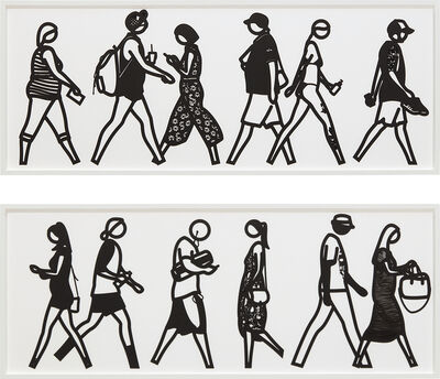 Julian Opie, 'Walking in Melbourne 2; and Walking in Melbourne 4, from Walking in Melbourne series', 2018