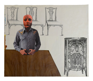 Larry Lewis, 'Untitled (Woman Standing at Table) - Page from mixed media collage book, Side A and B', ca. 1970