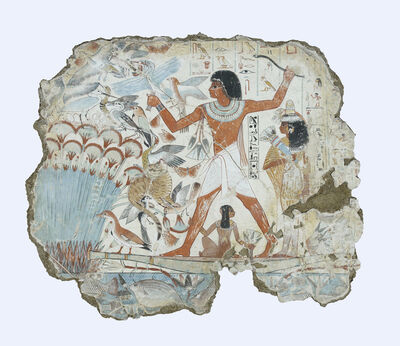 'Nebamun hunting in the marshes, fragment of a scene from the tomb-chapel of Nebamun', Late 18th Dynasty-around 1350 BC