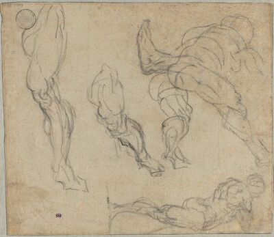 Jacopo Tintoretto, 'Figures and Legs (verso)', 1575/1580