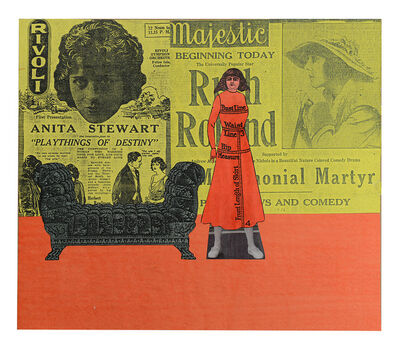 Larry Lewis, 'Untitled (Lady in Red Dress) - Page from mixed media collage book, Side A and B', ca. 1970
