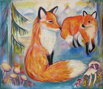 Zoa Ace, 'Flora & Fauna (2 Foxes)', 2018