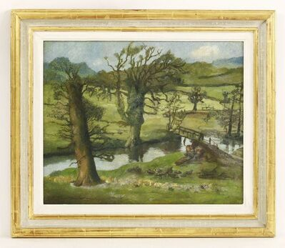 Attributed to Lucian Freud, 'A SUFFOLK SPRING LANDSCAPE WITH WELSH MOUNTAINS BEYOND, 1939/40'