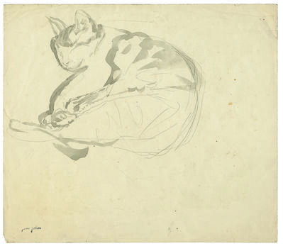 Gwen John, 'Curled Up Sleeping Tortoise-Shell Cat', 1904-1908
