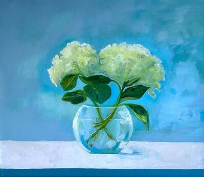 """Anne Harney, '""""Hydrangeas"""" oil painting of two white hydrangeas and a clear vase blue behind', 2020"""