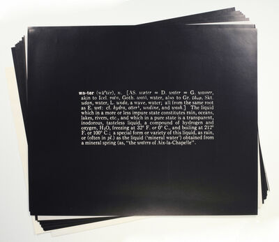 Joseph Kosuth, 'Notebook on Water', 1970