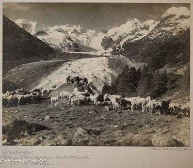 """Albert Steiner, '""""Graubunden. Blick zur Berninagruppe - Morteratschgletscher. - Oberengadin-""""  (""""Graubunden. View to the Bernina group - Morteratsch glacier. - Upper Engadin """")', 1925-1950"""