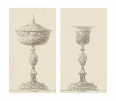 Charles Percier, 'A ciborium; and A chalice: Designs for the coronation of Napoleon'