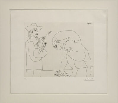 Pablo Picasso, 'Painter and nude picking flowers', 1970
