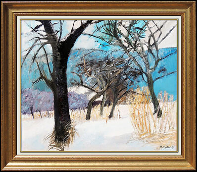 Guy Bardone, 'Guy Bardone Original Oil Painting on Canvas French Winter Landscape Signed Art', 20th Century
