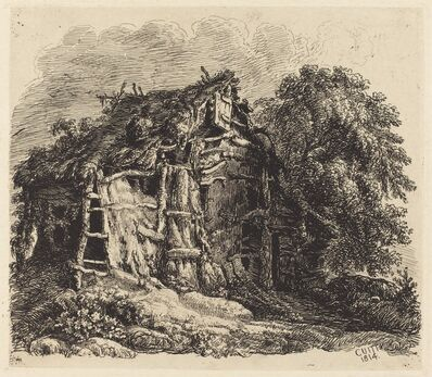 George Cuitt the Younger, 'Welsh Hovel at Machynllaeth', 1814