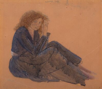 Winifred Knights, 'Colour study for foreground figure of woman combing her hair, Santissima Trinita', ca. 1925