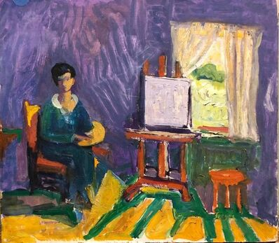 Frederick B. Serger, 'French Fauvist Girl in Studio Frederick Serger Oil Painting', 1940-1949