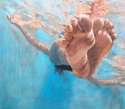 "Carol Bennett, '""Hang Time"" Oil painting of feet floating in a blue pool ', 2017"