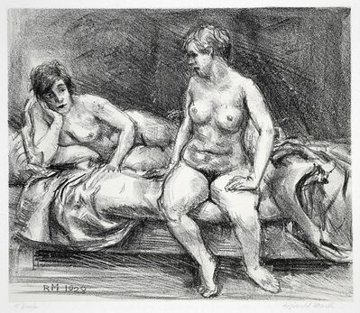 Reginald Marsh, 'Two Models on a Bed', 1928