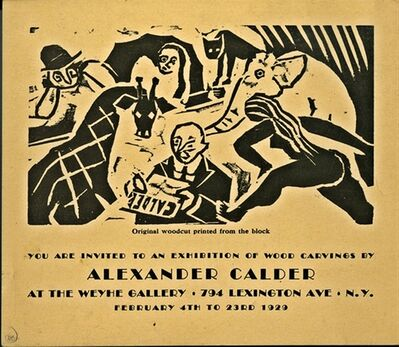 Alexander Calder, 'ORIGINAL WOODCUT ANNOUNCEMENT CARD DESIGNED BY CALDER FOR HIS SECOND SHOW IN THE U.S. AT THE WEYHE GALLERY, N.Y.', 1929