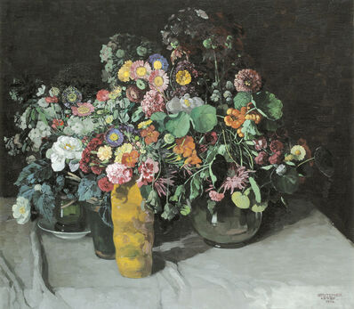 Josef Stoitzner, 'Floral Still Life with Asters, Carnations, and Nasturtiums', 1914
