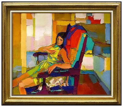 Nicola Simbari, 'NICOLA SIMBARI Original Painting Signed OIL on Canvas Female Portrait Artwork', 1950-1969