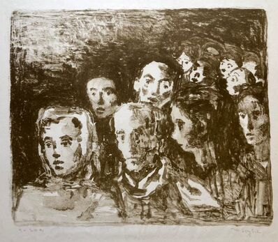 Moses Soyer, 'Social Realist Lithograph Moses Soyer WPA Artist Hudled Refugees', Mid-20th Century