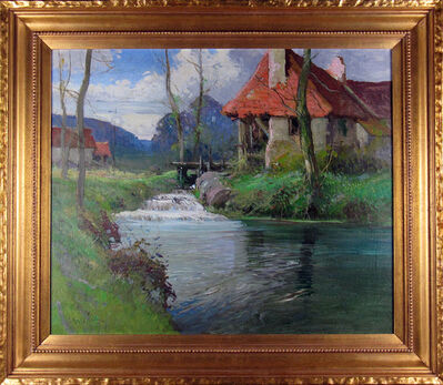 George Ames Aldrich, 'Summer Stream with Old Mill', ca. 1910