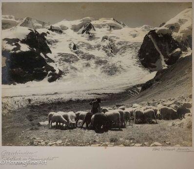 """Albert Steiner, '""""Graudunden. Schafhirte im Berninagebiet. - Oberengaden.""""  (""""Graudunden. Shepherd in the Bernina area. - Oberengaden. """")', 1925-1950"""