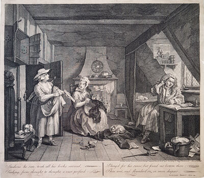 William Hogarth, '[The Distrest Poet] Studious he sate, with all his books around …', 1736