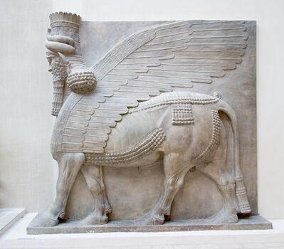 'Winged human-headed bull, Neo-Assyrian Period, reign of Sargon II,  Khorsabad, ancient Dur Sharrukin, Assyria, Iraq', 721-705 B.C.