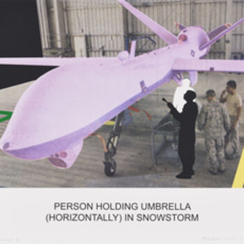 John Baldessari, 'The News: Person Holding Umbrella (Horizontally) in Snowstorm', 2014