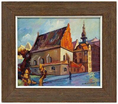 Hovik Muradian, 'Judaica Oil Painting Altneuschul Maharal Synagogue Prague', 20th Century