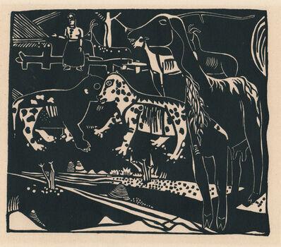 Heinrich Campendonk, 'Landschaft mit Ziegen und Wildkatzen', 1920