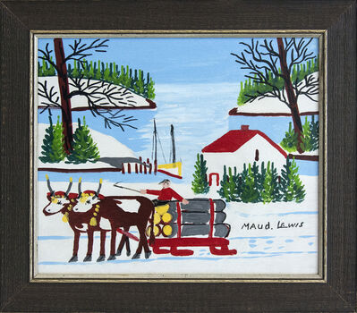 Maud Lewis, 'Two Oxen Hauling Logs', Mid-20th Century
