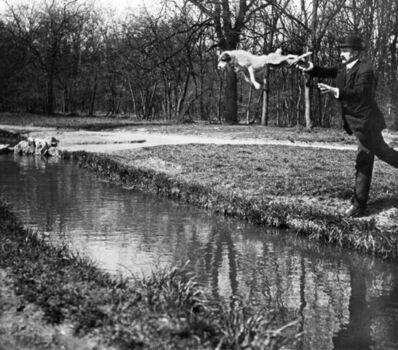 Jacques Henri Lartigue, 'Bois de Boulogne Monsieur Folletete Le Secretaire de Papa avec son chien, Tupy. Paris', 1912-printed 1978 under the supervision of the photographer