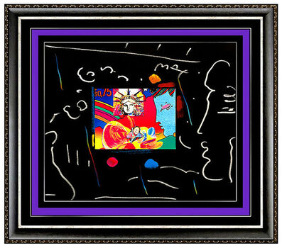 Peter Max, 'PETER MAX Acrylic Painting ORIGINAL LIBERTY HEAD Signed Pop Art Pastel Collage', 1990-1999