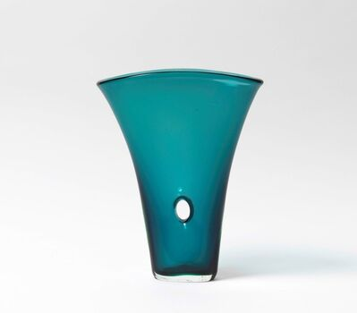Fulvio Bianconi, 'A fan shaped vase in blow turquoise glass with an hole in the middle', 1952 ca