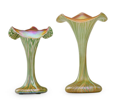 Quezal, 'Two small floriform vases, New York', early 20th C.