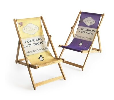 Harland Miller, 'Fuck Art Let's Dance, Fuck Dancing Let's Fuck (Set of two deckchairs)', 2013