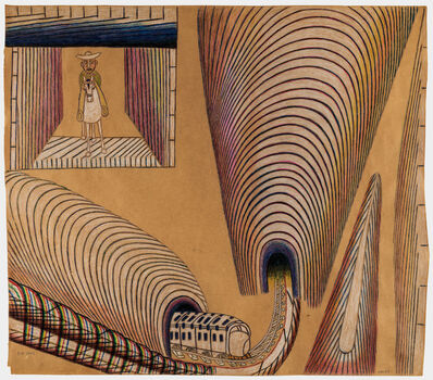 Martín Ramírez, 'Untitled (Train and Tunnels)', ca. 1954