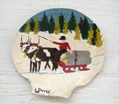 Maud Lewis, 'Clam Shell, Two Oxen and Sleigh', 1960