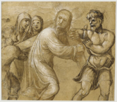 Sodoma, 'Christ Carrying the Cross (recto), The Resurrection (verso)', 1535