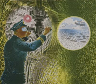 Eric Ravilious, 'Commander looking through the periscope'